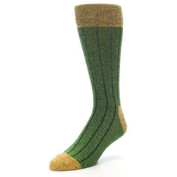 Image of Green Yellow Wool Blend Men's Dress Socks (side-2-front-08)