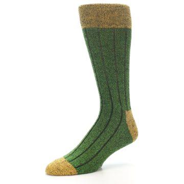 Image of Green Yellow Wool Blend Men's Dress Socks (side-2-09)