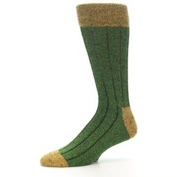 Image of Green Yellow Wool Blend Men's Dress Socks (side-2-10)
