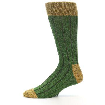 Image of Green Yellow Wool Blend Men's Dress Socks (side-2-11)
