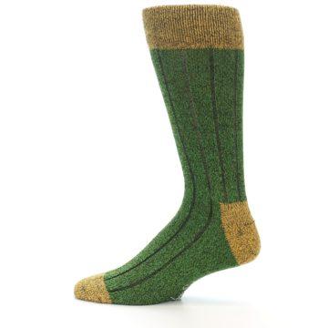 Image of Green Yellow Wool Blend Men's Dress Socks (side-2-12)