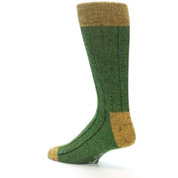 Image of Green Yellow Wool Blend Men's Dress Socks (side-2-back-14)