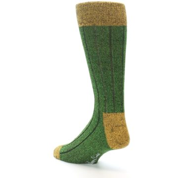 Image of Green Yellow Wool Blend Men's Dress Socks (side-2-back-15)