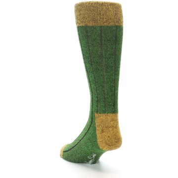 Image of Green Yellow Wool Blend Men's Dress Socks (side-2-back-16)