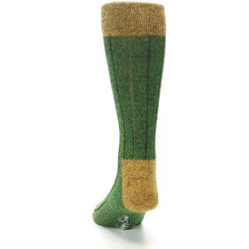 Image of Green Yellow Wool Blend Men's Dress Socks (back-17)