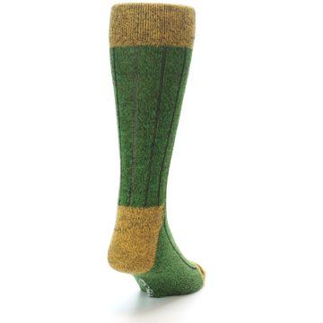 Image of Green Yellow Wool Blend Men's Dress Socks (side-1-back-20)