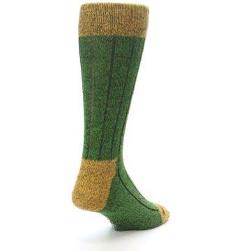 Image of Green Yellow Wool Blend Men's Dress Socks (side-1-back-21)
