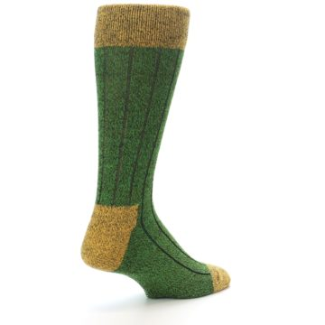 Image of Green Yellow Wool Blend Men's Dress Socks (side-1-back-22)