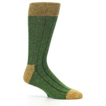 Image of Green Yellow Wool Blend Men's Dress Socks (side-1-25)