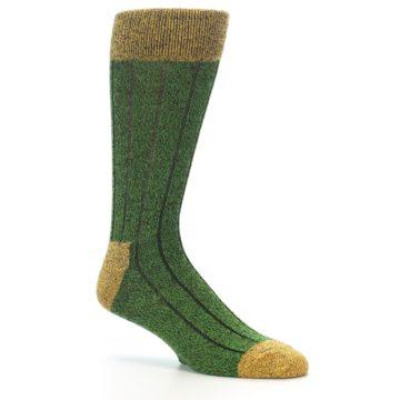 Image of Green Yellow Wool Blend Men's Dress Socks (side-1-26)