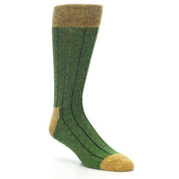 Image of Green Yellow Wool Blend Men's Dress Socks (side-1-27)