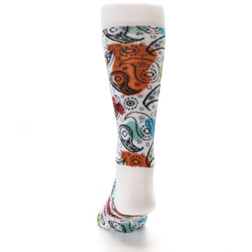 Image of White Black Multi Color Paisley Men's Dress Socks (back-17)