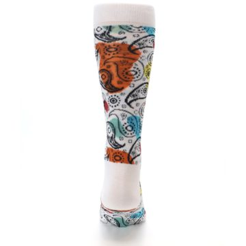 Image of White Black Multi Color Paisley Men's Dress Socks (back-18)