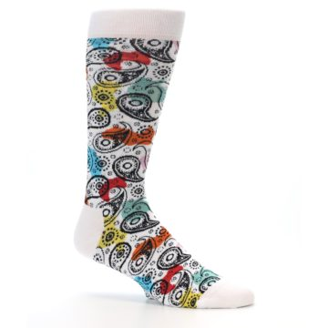Image of White Black Multi Color Paisley Men's Dress Socks (side-1-25)
