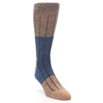 Image of Blue Multi Color Wool Blend Men's Dress Socks (side-1-front-02)