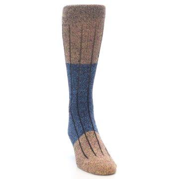 Image of Blue Multi Color Wool Blend Men's Dress Socks (side-1-front-03)