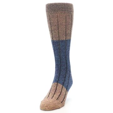 Image of Blue Multi Color Wool Blend Men's Dress Socks (side-2-front-06)
