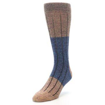 Image of Blue Multi Color Wool Blend Men's Dress Socks (side-2-front-07)