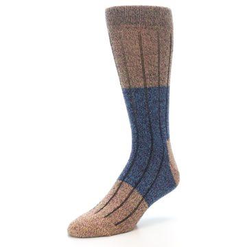 Image of Blue Multi Color Wool Blend Men's Dress Socks (side-2-front-08)