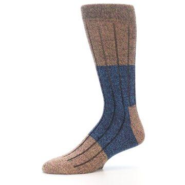 Image of Blue Multi Color Wool Blend Men's Dress Socks (side-2-10)