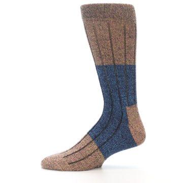 Image of Blue Multi Color Wool Blend Men's Dress Socks (side-2-11)