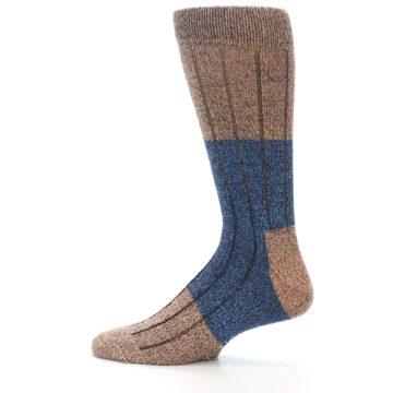 Image of Blue Multi Color Wool Blend Men's Dress Socks (side-2-12)