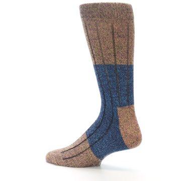 Image of Blue Multi Color Wool Blend Men's Dress Socks (side-2-13)