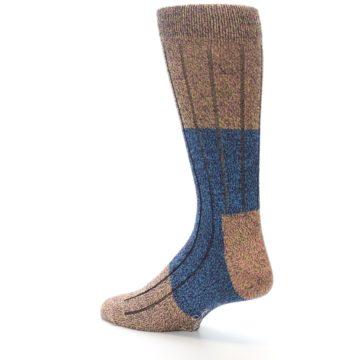 Image of Blue Multi Color Wool Blend Men's Dress Socks (side-2-back-14)