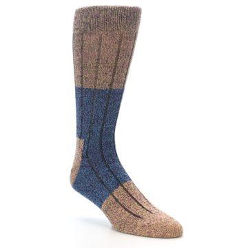Image of Blue Multi Color Wool Blend Men's Dress Socks (side-1-27)