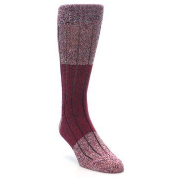 Image of Red Wool Blend Men's Dress Socks (side-1-front-02)