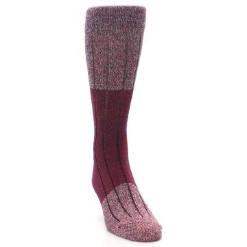 Image of Red Wool Blend Men's Dress Socks (side-1-front-03)
