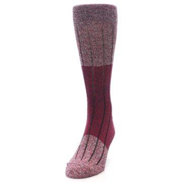 Image of Red Wool Blend Men's Dress Socks (side-2-front-06)