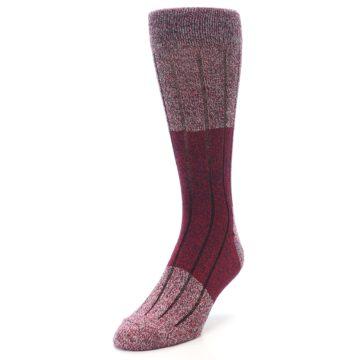 Image of Red Wool Blend Men's Dress Socks (side-2-front-07)