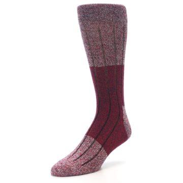 Image of Red Wool Blend Men's Dress Socks (side-2-front-08)