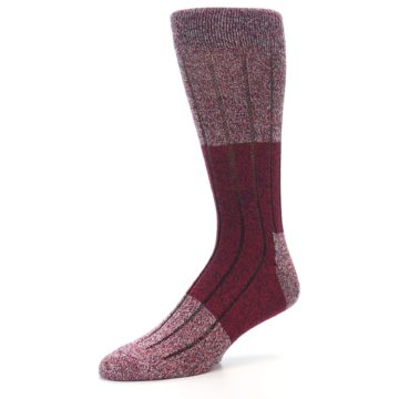Image of Red Wool Blend Men's Dress Socks (side-2-09)