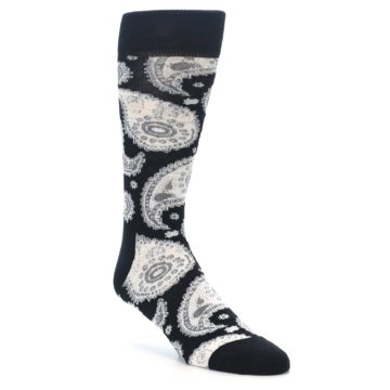 Image of Black White Grey Paisley Men's Dress Socks (side-1-front-01)