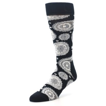 Image of Black White Grey Paisley Men's Dress Socks (side-2-front-08)