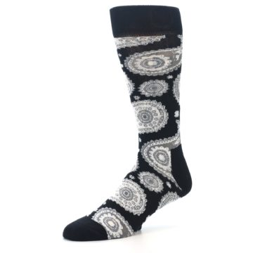 Image of Black White Grey Paisley Men's Dress Socks (side-2-09)