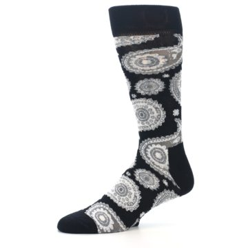 Image of Black White Grey Paisley Men's Dress Socks (side-2-10)