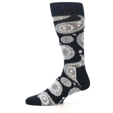 Image of Black White Grey Paisley Men's Dress Socks (side-2-11)