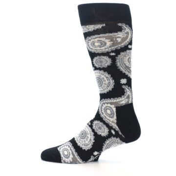 Image of Black White Grey Paisley Men's Dress Socks (side-2-12)