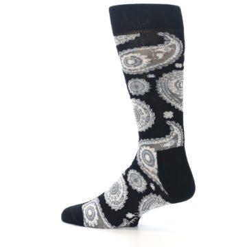 Image of Black White Grey Paisley Men's Dress Socks (side-2-13)