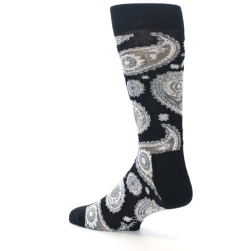 Image of Black White Grey Paisley Men's Dress Socks (side-2-back-14)
