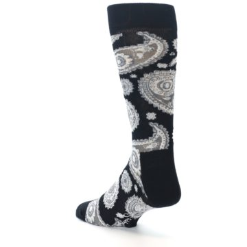 Image of Black White Grey Paisley Men's Dress Socks (side-2-back-15)