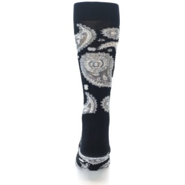 Image of Black White Grey Paisley Men's Dress Socks (back-18)