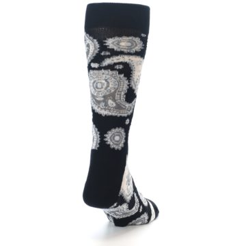 Image of Black White Grey Paisley Men's Dress Socks (side-1-back-20)