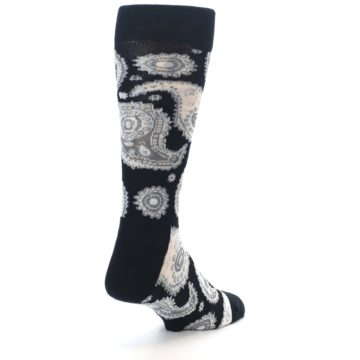 Image of Black White Grey Paisley Men's Dress Socks (side-1-back-21)