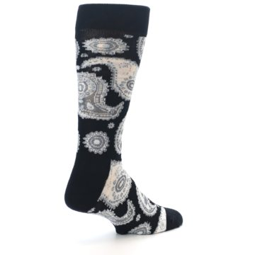 Image of Black White Grey Paisley Men's Dress Socks (side-1-back-22)