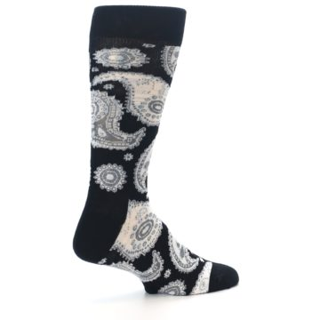 Image of Black White Grey Paisley Men's Dress Socks (side-1-23)