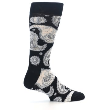Image of Black White Grey Paisley Men's Dress Socks (side-1-24)